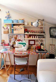 Eclectic diy craft desk