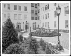 Broadway between 89th and 90th Streets. Astor Court, view of gardens in court.