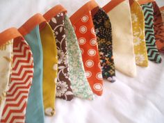 Fall/ Autumn Bunting Banner Garland-Aqua Blue, Spiced Orange, Mustard Yellow,  Warm Brown, Red. $29.50, via Etsy.