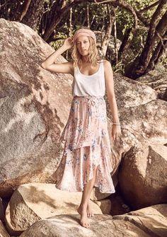 Dahlia Cascade Skirt Blush - Auguste The Label