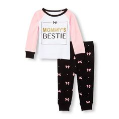 Baby And Toddler Girls Long Raglan Sleeve Glitter 'Mommy's Bestie' Top And Bow Printed Pants Pj Set