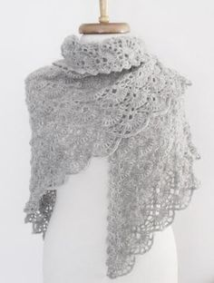 Grey Bridal CASHMERE Mohair shawl-Ready to ship by knittingshop on Etsy