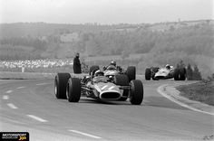 9 June 1968: Belgian Grand Prix: Spa-Francorchamps: Les Combes: #11 Pedro Rodriguez (BRM P133), #14 Piers Courage (BRM P126) and #5 Bruce McLaren (McLaren-Ford). McLaren would win the race before Rodriguez, Courage retired. Three years, these three drivers were not longer alive.