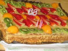 68th birthday cake for a friend. Like a mille-fuille (Napolean) but with fruit. Delicious!!