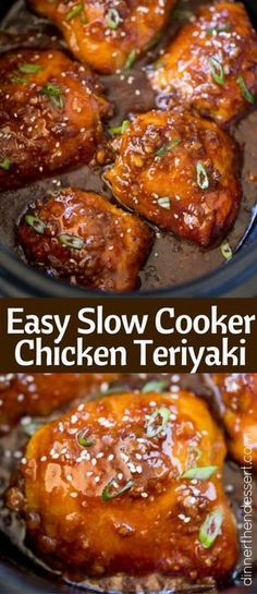 Slow Cooker Teriyaki Chicken made with a handful of ingredients has amazing flavors of ginger, garlic that will make your kitchen smell amazing. (slow cooker recipes with chicken) Slow Cooked Meals, Crock Pot Slow Cooker, Crock Pot Cooking, Pressure Cooker Recipes, Cooking Pork, Freezer Cooking, Freezer Meals, Chicken Thights Recipes, Chicken Recipes