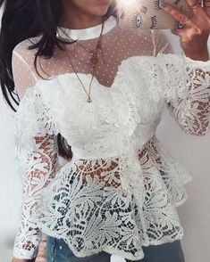 Sheer Mesh Floral Lace Ruffles Blouse We Miss Moda is a leading Women's Clothing Store. Offering the newest Fashion and Trending Styles. Ruffles, Lace Ruffle, Ruffle Blouse, Trend Fashion, Look Fashion, Womens Fashion, Leder Outfits, Look Vintage, Beautiful Gowns