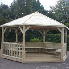 This emperor FSC hexagonal timber roof gazebo is a space area for you to entertain guests late into the evening over some wine and good food as this gazebo. Diy Pergola, Backyard Gazebo, Corner Pergola, Pergola Swing, Outdoor Pergola, Cheap Pergola, Pergola Shade, Pergola Kits, Pergola Ideas