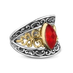 Carolyn Pollack Jewelry   Coronation Sterling Silver and Brass Red Coral Ring