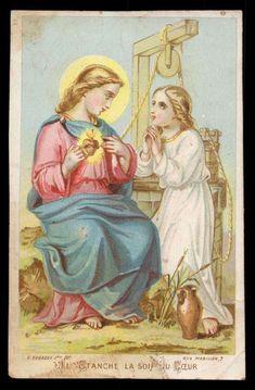 Vintage Holy Cards, Biblical Womanhood, Heart Of Jesus, Sacred Heart, Religious Art, Catholic, Christ, Princess Zelda, Drawings