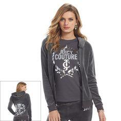 Juicy Couture Embellished Pleated Hoodie in Forged Iron- NWT Ladies - X-Large #JuicyCouture #Hoodie