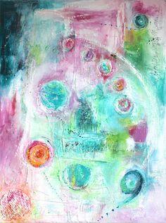 Galaxie. 80 x60 cm gemalt auf einem ca. 2cm dicken Keilrahmen. Mischtechnik aus Acryl, Tusche, Kreide und Collagematerial. Die Seiten des