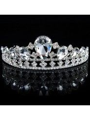 Fashion Alloy with Glass and Rhinestones Wedding Tiara