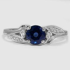 18K White Gold Sapphire Jasmine Diamond Ring // Set with a 5.5mm Round Blue Sapphire #BrilliantEarth