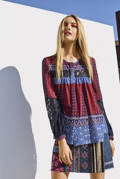 Searching for the perfect boho style? Let yourself inspired by this bohemian Desigual shirt with a very colorful print! Discover Desigual Women's collection!