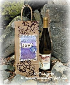 Wine Bottle Gift Bag with Umbro coloring using @TatteredAngels, @Spellbinders, @Juliannahudgins and @CanvasCorp1