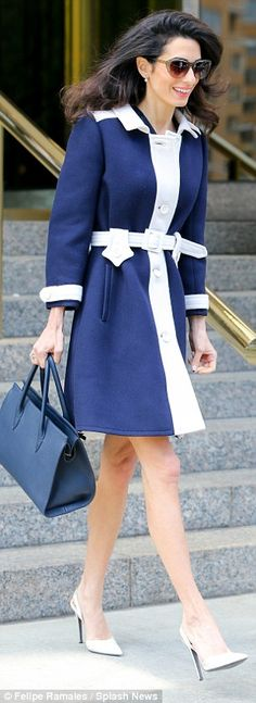 Beautiful barrister: Amal Clooney was the epitome of business chic when she was spotted i...