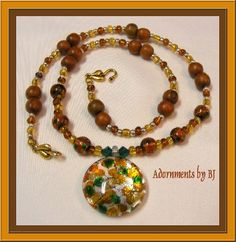 Beautiful Autumn Colors in a Round Dichroic Pendant Necklace #HAFshop #HAFteam #handmade #artist $53.00