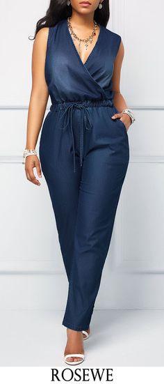 Denim Blue V Neck Drawstring Waist Jumpsuit.#Rosewe#jumpsuit#denim