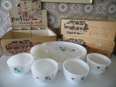1950s Federal Glass Patio Snack Set Service For 4 by MadGirlRetro