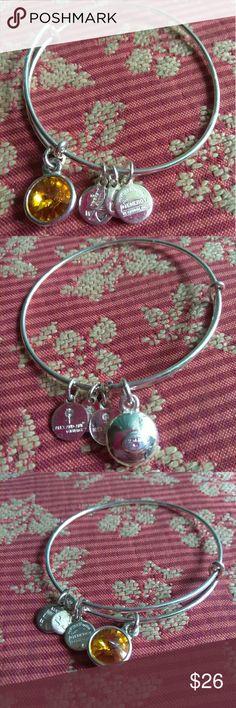 Alex and Ani silver citrine bangle Alex and Ani silver citrine dangle charms bracelet in EUC. Alex & Ani Jewelry Bracelets