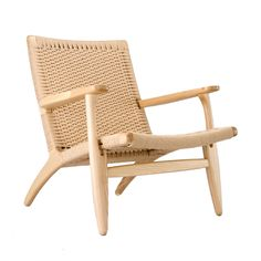 Combine your taste for modern design with your natural sensibilities with this stunning lounge chair.  Featuring a rustic woven seat and back in a classic mid-century shape, the chair masters the art o...  Find the Modern Woven Lounge Chair, as seen in the Casa De La Artista Collection at http://dotandbo.com/collections/casa-de-la-artista?utm_source=pinterest&utm_medium=organic&db_sku=DBI1257-NAT