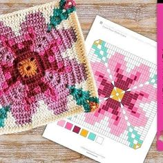 Crochet Blocks, Crochet Chart, Crochet Motif, Crochet Flowers, Crochet Patterns, Crochet Granny Square Afghan, Crochet Squares, Granny Square Patterns, Happy Spring