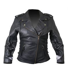 Xelement B8301 Classic Womens Black Cowhide Leather Jacket