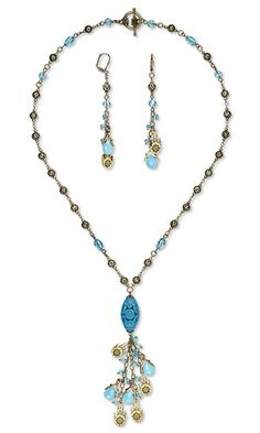 Single-Strand Necklace and Earring Set with Antiqued Gold-Plated Pewter Charms, Cinnabar Bead and Celestial Crystal® Beads