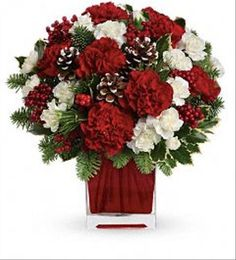 Make anyone merry with this sweet bouquet! Red and white carnations are beautifully arranged in a red glass cube.