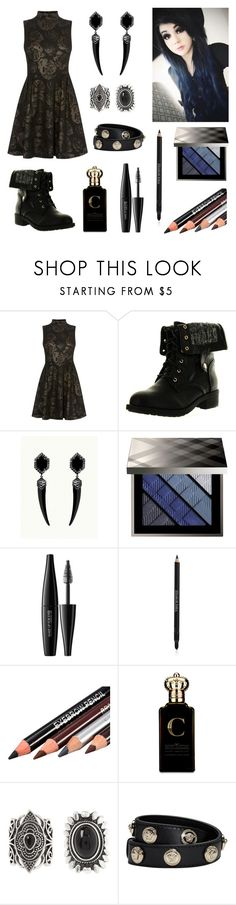 """""""Little Black Dress"""" by roseforbes ❤ liked on Polyvore featuring Karen Millen, Refresh, Burberry, MAKE UP FOR EVER, Elizabeth Arden, Clive Christian, New Look and Versace"""