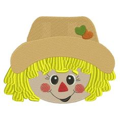 Cute Boy Scarecrow Head With Hearts Filled Machine Embroidery Digitized Design Pattern #thanksgiving #embdoidery #appliques #scarecrow