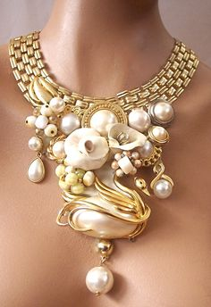 Odette+Golden+Pearl+Statement+Necklace+by+secondlookjewelry