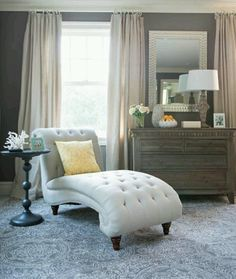 Warm grey walls with cream curtains.  marshall's home goods.
