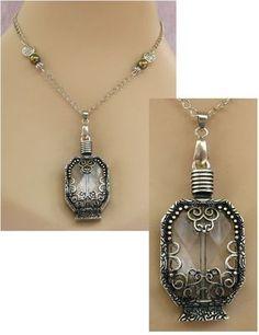 Silver Celtic Glass Vial Pendant Necklace