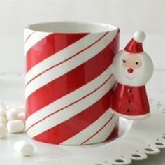 Hallmark Candy Cane Mug with Santa Handle #hiddentreasuresdecorandmore #hallmark #candycane #mug #santa #christmas #gifts