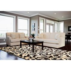 black & ivory rug - game room