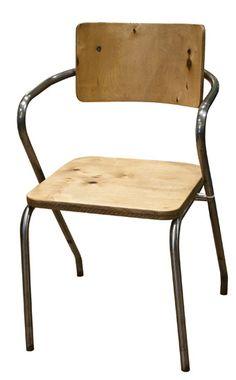 Vintage Industrial Tubular Steel and Wood Armchair DU-AL