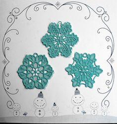 Aqua Blue Snowflake Christmas Ornaments $15