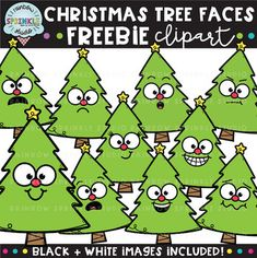 I hope you enjoy this FREEBIE! I'm so thankful for you for all your support and kind words.sending you lots of warm & fuzzy holiday wishes! :) - SashaThis fun Christmas Tree Faces clipart is perfect for Christmas Tree With Face, Christmas Tree Clipart, Cool Christmas Trees, Christmas Tree Decorations, Preschool Christmas, Christmas Crafts, Tree Faces, Cute Clipart, Classroom Displays