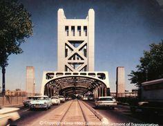 Tower Bridge -Sacramento CA 1960 Sacramento City, Sacramento California, California Dreamin', Northern California, California History, Vintage California, Carmichael California, California State Capitol, Capitol Building