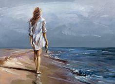 Kai Fine Art is an art website, shows painting and illustration works all over the world. Art Plage, Seascape Art, Am Meer, Beach Art, Portrait Art, Beautiful Paintings, Figurative Art, Painting Inspiration, Sculpture Art