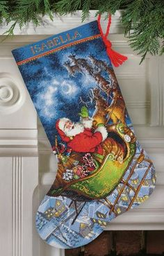 click here to view larger image of Santa's Flight Stocking (counted cross stitch kit)
