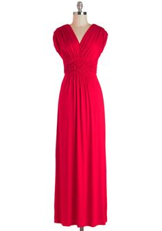 Arrange a Date Dress - Long, Jersey, Red, Solid, Ruching, Casual, Empire, Maxi, Cap Sleeves, V Neck