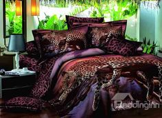 Lying Leopard Print 100% Cotton 4-Piece Duvet Cover Sets on sale, Buy Retail Price Animal Print Bedding Sets at Beddinginn.com