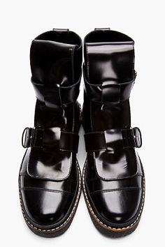 51b8e324c1abb Black leather buckle boots Buckle Boots