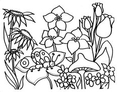 Spring Flower Catepillar On Coloring Page