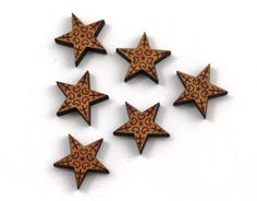 Laser Cut Supplies-8 Pieces.Christmas Star Charms - Laser Cut Wood Star -Earring Supplies- Little Laser Lab Sustainable Wood Products