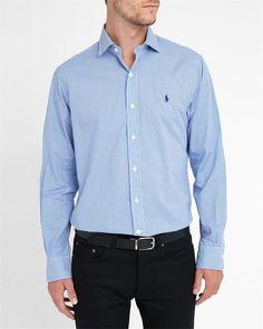 POLO Ralph Lauren, White/Royal Blue Pr Gingham Poplin Shirt