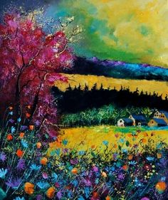 Fall landscape, painting by artist ledent pol