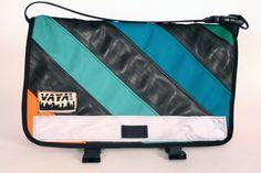 Recycled Bike Tube & Canvas Striped Petite Messenger Bag. $149.00, via Etsy.